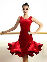 Latin Dance Dresses Women's Performance Velvet Draped 1 Piece Sleeveless Natural Dress