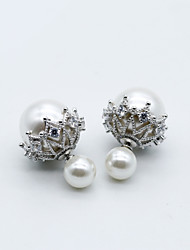 Body Jewelry Ear Piercing Pearl Sterling Silver Fashion Flower White Jewelry Halloween Gift Valentine Christmas Gifts 1 pair