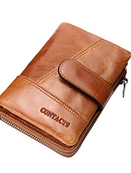 Contact Genuine Leather Vintage Style Wallet  for Men with Zipper Around Coin Pouch Purse Sports Casual  Shopping Cowhide