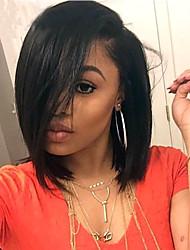 130% Density Human Virgin Hair Short Full Lace Bob Wigs With Side Bang Straight Hair Natural Black Color Malaysian Virgin Hair Lace Wigs For Woman