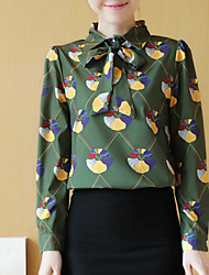 Women's Formal Work Party/Cocktail Cute Street chic Sophisticated Spring Summer Shirt,Print Shirt Collar Long Sleeve White Green Others