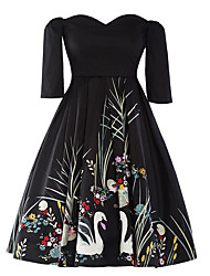 Women's Casual Party Vintage Heart Collar Half Sleeve Printed Black Color Cotton / Polyester Spring Autumn Dress