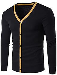 Men's Casual/Daily Simple Regular Cardigan,Solid Blue Black Gray Yellow V Neck Long Sleeve Cotton Spring Medium Micro-elastic