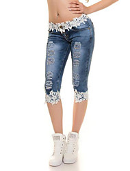 Women's Lace Skinny Jeans Pants,Going out Casual/Daily Sexy Simple Street chic Solid Mid Rise Zipper Button Polyester Stretchy Summer