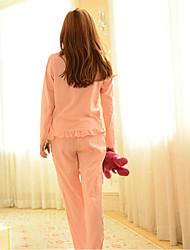 подписать девушек&# 39; 2017 весна волна кружева точка хлопка пижамы костюмы Tracksuit милые и удобные пижамы