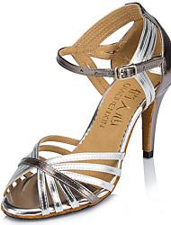 Customizable Women's Dance Shoes Leatherette Leatherette Latin Heels Stiletto Heel Practice Beginner Indoor Outdoor PerformanceSilver