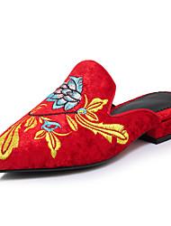 Mujer-Tacón Bajo-Confort-Zuecos y pantuflas-Vestido Informal Fiesta y Noche-Vellón-Negro Rojo