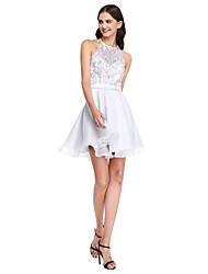 Corte en A Joya Corta / Mini Encaje Organza Vestido de Dama de Honor con Cuentas Apliques Cinta / Lazo por LAN TING BRIDE®