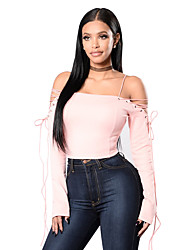 Women's Off The Shoulder Going out Party Club Sexy Cute Street chic All Seasons T-shirt,Solid Off Shoulder Long Sleeve Pink Black Cotton Polyester