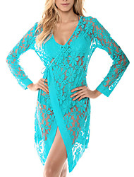 Women's Bandeau Cover-Up,Solid Polyester Blue