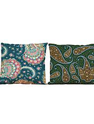 2 PC Lino Natural/Orgánico Funda de almohada,Sólido Con Texturas Casual Retro Tradicional/Clásico Reforzar Euro Estilo playero