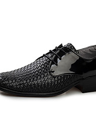 Men's Oxfords Spring Fall Other PU Casual Low Heel Lace-up Black Dark Brown Other