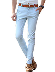 Men's Plus Size Slim Chinos Pants,Casual/Daily Work Vintage Simple Street chic Solid Low Rise Zipper Button Cotton Micro-elasticSpring