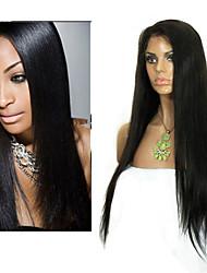 """8 """"-26"""" cheveux vierges droite sans colle perruque de dentelle pleine brésilien avec des cheveux de bébé pour les femmes noires"""
