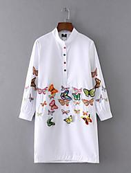 Feminino Camisa Vestido, Para Noite Praia Férias Simples Fofo Sólido Bordado Colarinho Chinês Acima do Joelho Manga Longa Branco Preto