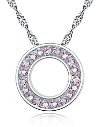 Simple fashion round jewelry pendants Small and pure and fresh with circle diamond necklace 0359 #