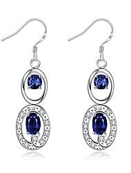 Crystal AAA Cubic Zirconia Drop Earrings Jewelry Women Daily Casual Zircon Copper Silver Plated Glass 1 pair Silver Blue Purple Regency