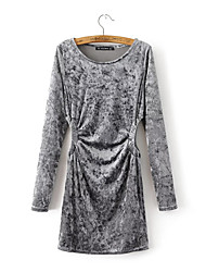 Women's Going out Holiday Simple Boho A Line Sheath Dress,Solid Patchwork Cut Out Ruched Round Neck Above Knee Long Sleeve PolyesterBlack