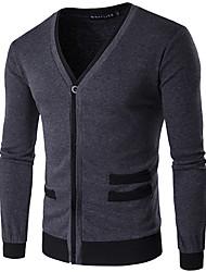 Men's Casual/Daily Simple Regular Cardigan,Solid Black Gray V Neck Long Sleeve Cotton Spring Medium Micro-elastic