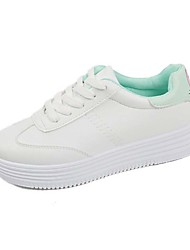 Women's Sneakers Spring Summer Fall Light Soles PU Casual Flat Heel Black Green Pink