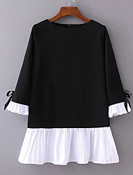 Women's Going out Casual/Daily Beach Simple Cute Sophisticated A Line Loose Black and White Dress,Solid Patchwork Bow Ruffle PleatedRound