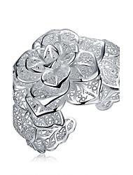 Браслеты Браслет цельное кольцо Браслет разомкнутое кольцо Медь Серебрянное покрытие В форме цветкаДружба Турецкий Мода Винтаж Богемия