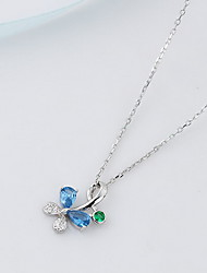 Women's Pendant Necklaces Jewelry Flower Animal Shape Butterfly Sterling Silver Imitation Diamond Fashion Luxury Jewelry For Daily Casual