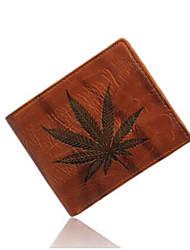 Men Leaves Print Wallet Multifunction Card Holder