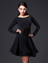Latin Dance Dresses Women's Performance Viscose Ruffles 1 Piece Long Sleeve Dress