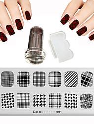 12 x 6 cm de la tela escocesa de placas de acero estampado de uñas imagen raspador belleza
