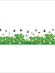 Wall Stickers Wall Decals Style Butterflys Flying in The Grass PVC Wall Stickers