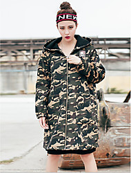 Women's Going out Simple Street chic Trench Coat,Print Hooded Long Sleeve Fall Winter Wash inside out Dry flat Cotton Polyester Regular