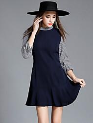 Женский На выход На каждый день Офис Очаровательный Уличный стиль Изысканный А-силуэт Оболочка Платье Однотонный Контрастных цветов,