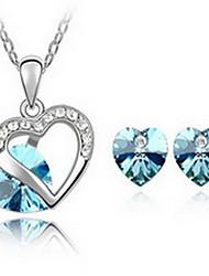 Conjunto de Jóias Cristal Amor Liga Verde Azul Azul marinho Azul Claro Lavanda 1 Colar 1 Par de Brincos Para Festa 1 ConjuntoPresentes de