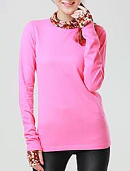 Damen Solide Einfach Lässig/Alltäglich T-shirt Frühling Langarm Blau / Rosa / Schwarz / Grau / Gelb Baumwolle / Polyester Undurchsichtig