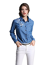 Women's Embroidery Casual/Daily Work Chinoiserie Spring Summer Shirt,Embroidered Stand ¾ Sleeve White Cotton Medium