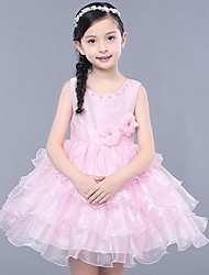 Girl's Solid Dress,Polyester Summer Sleeveless