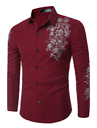 Men's Casual/Daily Simple Street chic All Seasons Shirt,Print Classic Collar Long Sleeves Cotton Polyester Thin