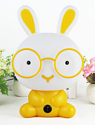 1pc criativo coelho dos desenhos animados levou a lâmpada de olho três vidros ópticos ajustáveis toque bonito coelho luz noturna (cor