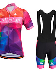 Miloto Cycling Jersey with Bib Shorts Women's Short Sleeves Bike Bib Shorts Jersey Bib Tights Shorts Shirt Sweatshirt Tops Quick Dry