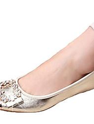 Damen-Flache Schuhe-Lässig-PU-Flacher Absatz-Komfort-Schwarz Lila Gold