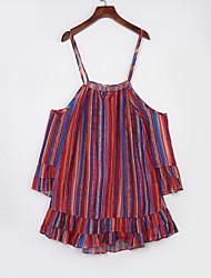 Women's Beach Boho Chiffon Dress,Print Off Shoulder Above Knee Long Sleeve Orange Polyester Summer
