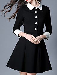 Women's Going out Casual/Daily Holiday Cute Sophisticated A Line Dress,Solid Shirt Collar Above Knee Long Sleeve Polyester Black Spring