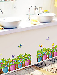 Colorful Flowers And Plants With Butterfly Wall Stickers Cartoon Skirting Line Wall Decals DIY Wall Art