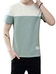 Men's Plus Size Casual/Daily Beach Simple Cute Street chic Summer T-shirt,Solid Striped Round Neck Short Sleeve Pink Green Cotton Medium
