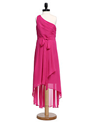 LAN TING BRIDE Asymmetrical Chiffon Junior Bridesmaid Dress A-line One Shoulder Natural with Bow(s) Sash / Ribbon Side Draping
