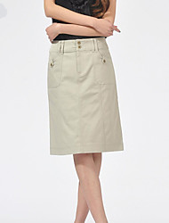 Women's Work Micro-elastic Medium Knee-length Skirts (Cotton/Spandex)