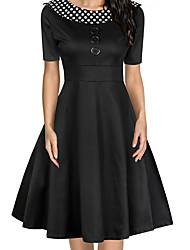 Women Vintage Dress Polka Dot O-Neck A-Line Short Sleeves High Waist Back Zipper Elegant Retro Dress