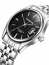 Men's Fashion Watch Wrist watch Calendar Quartz Stainless Steel Band Cool Casual Silver