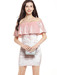 Women's Going out Club Sexy Street chic Backless Pleuche Off-the-shoulder Bodycon DressSolid Layered Ruffle Boat Neck Mini Short Sleeve